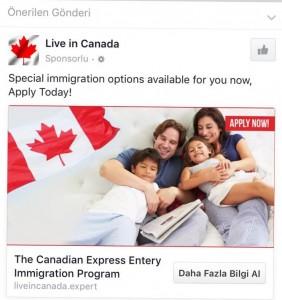 Facebook'taki Kanada ilanlarından biri...